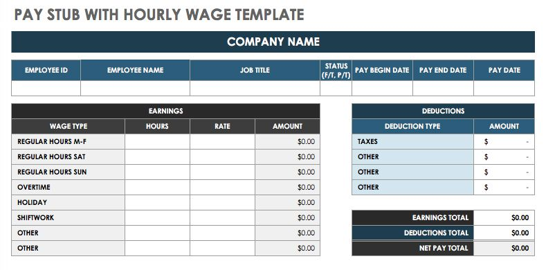 Pay-Stub-with-Hourly-Wage-Template